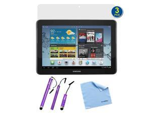 GTMax 3-Pack Premium HD Guard Film Clear LCD Screen Protectors plus 3pcs Purple Stylus for Samsung Galaxy Tab 2 10.1-Inch ...