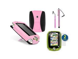 GTMax Pink / Black Lightweight Foldable Kick-Stand Leather Case Cover plus 2pcs Stylus, 2pcs Screen Protector for LeapFrog ...