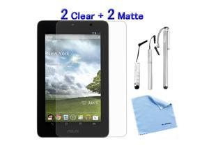GTMax 4-Pack Crystal Clear & Anti-Glare Anti-Fingerprint Matte Screen Protector plus Microfiber Cloth, 3pcs Silver Stylus ...