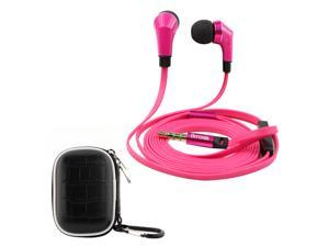 iKross Hot Pink / Black In-Ear 3.5mm Noise-Isolation Stereo Earphones With Handsfree Microphone Headset + Black Small Headset ...