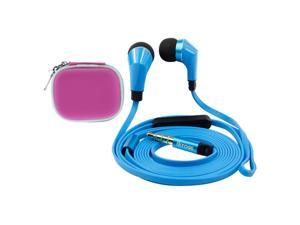 iKross Blue / Black In-Ear 3.5mm Stereo Earphones With Microphone Headset + Hot Pink Headset Carrying Pouch Case for Barnes ...