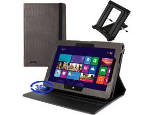 GTMax Black Lizard Pattern 360 Degrees Rotating Leather Stand Case with Auto Sleep/ Wake Function plus Travel Folding Stand ...