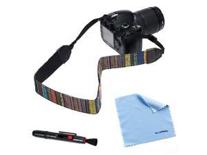 BIRUGEAR Vintage Multi-Color Camera Neck Strap + Lens Pen + Cleaning Cloth for Canon SL1, T5i, T4i, T3i, T3, T2i&#59; SX500 IS, ...