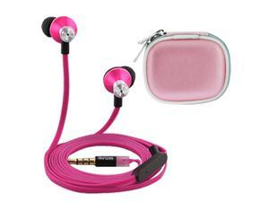 iKross In-Ear 3.5mm Noise-Isolation Stereo Earbuds with Microphone (Hot Pink / Black) + Pink Accessories Carrying Case for ...