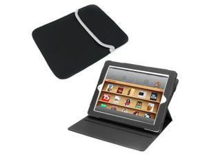 BIRUGEAR Black 360 Degrees Rotating Leather Stand Case Cover with Sleeve Neoprene Case for Apple iPad 4, 3, 2, The New iPad with Retina Display (Automatically Wakes and Puts the iPad to Sleep)