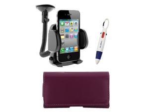 GTMax Purple Universal Horizontal Pouch Protector Case with Belt Clip + Car Mount Holder for Apple iPod Touch 5th Generation&#59; ...
