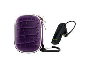 iKross Black Mini Bluetooth Handsfree Headset + Purple Small WaterProof Carrying Storage Eva Case for Apple iPad 4, Mini, ...