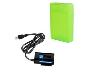 EZOWare ® SuperSpeed USB 3.0 to SATA  Converter Adapter Cable + Green Storage Protection Box  for Western Digital 3.5 inch ...