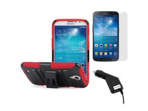 GTMax Rugged Shell Stand Case and Holster Combo + Screen Protector + Car Charger for Samsung Galaxy Mega 6.3 I9200 - Red ...