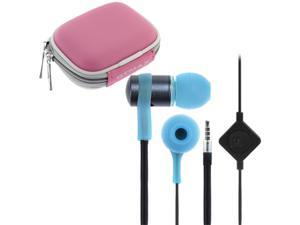 iKross Blue In-Ear 3.5mm Noise-Isolation Stereo Earbuds with Microphone + Pink Headset Case for Samsung Galaxy Amp SGH-I407, ...