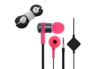 iKross Pink In-Ear 3.5mm Noise-Isolation Stereo Earbuds with Microphone + Headset Wrap for Samsung ATIV Tab 3, Galaxy Tab ...
