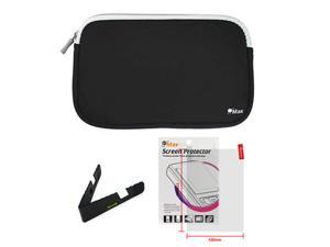 GTMax Black Neoprene Zipper Pouch Storage Carrying Case plus Travel Stand, Universal Screen Protector for 7 inch Android ...