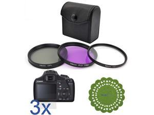 GTMax 3pc LCD Screen Protector + 58mm 3pc Filter Set with Bag + CupPad for Canon EOS Rebel T3, EOS 1100D, Canon 18-55mm, ...
