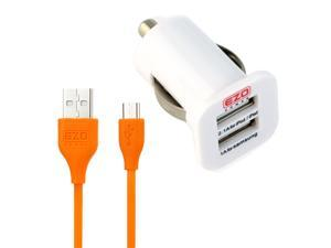 EZOPower Orange 6 Feet Micro-USB 2in1 Cable + Dual USB Car Charger Adapter for Samsung Galaxy Tab 4, Galaxy Tab 3, Galaxy ...