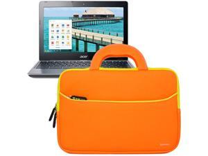 Evecase® Ultraportable Neoprene Pocket Handle Carrying Sleeve Case Bag for Acer C720 / C710 / C7 11.6-Inch Chromebook - Orange