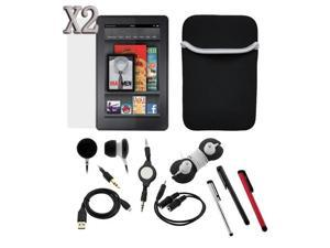 "BIRUGEAR Black Neoprene Case + USB Data Cable + 3 Stylus + 4Pcs Stereo Audio Bundle + 2x LCD for Amazon Kindle Fire 7"" Android ..."