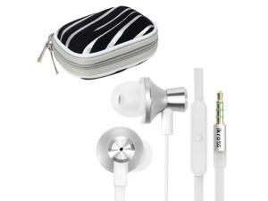 iKross White / White Metallic Silicone Earbud Stereo Headset with Microphone IKHS10W + Silver Zebra Bluetooth Headset Carrying ...