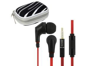 iKross Black / Red Metallic Silicone Earbud Stereo Headset with Microphone IKHS11R + Silver Zebra Bluetooth Headset Carrying ...