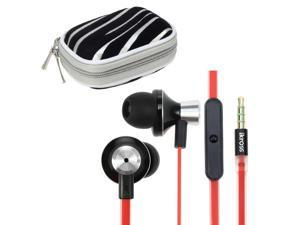 iKross Black / Red Metallic Silicone Earbud Stereo Headset with Microphone IKHS10R + Silver Zebra Bluetooth Headset Carrying ...