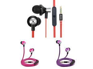 iKross 3-Pack In-Ear 3.5mm Noise-Isolation Stereo Earbuds with Microphone for Apple, BlackBerry, HTC, LG, Motorola, Nokia, ...