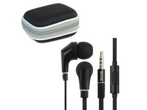 iKross In-Ear 3.5mm Noise-Isolation Stereo Earphones With Handsfree Microphone Headset (Black/ Black) + Black Carrying Eva ...