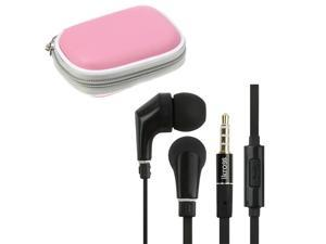 iKross In-Ear 3.5mm Noise-Isolation Stereo Earphones With Handsfree Microphone Headset (Black/ Black) + Pink Carrying Eva ...