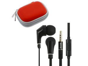 iKross In-Ear 3.5mm Noise-Isolation Stereo Earphones With Handsfree Microphone Headset (Black/ Black) + Red Carrying Eva ...