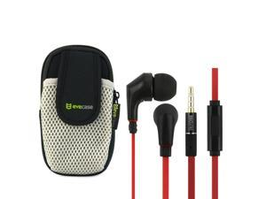 iKross Black / Red Metallic Silicone Earbud Stereo Headset with Microphone IKHS11R + EveCase Universal Sports Armband Case ...