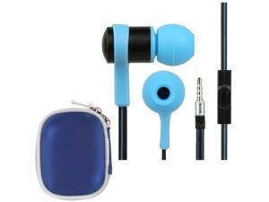 iKross Blue In-Ear 3.5mm Noise-Isolation Stereo Earbuds with Microphone + Blue Headset Case for Samsung Galaxy Mega 6.3, ...