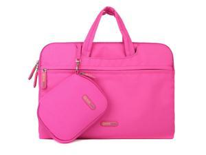 Evecase ASUS Zenbook UX305FA-ASM1 13.3-Inch Ultrabook/Laptop Dual Layer Sleeve Briefcase Bag with Carrying Handle + Pouch Case + Mouse Pad - Hot Pink