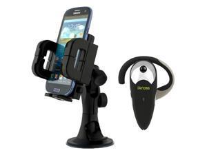iKross Car Windshield Large Black Mount Holder + Bluetooth Headset for Blackberry, LG, HTC, Samsung, Pantech, Huawei, Motorola, ...