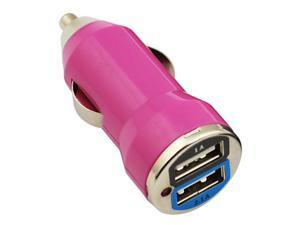 GTMax 2 Port USB Car Charger Vehicle Power Adapter - Hot Pink (2000mA)