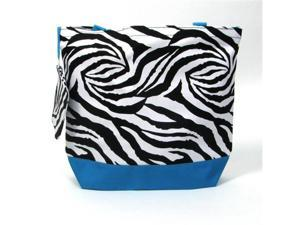 Girl Diaper Bag in Turquoise & Zebra Print