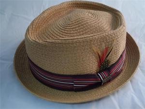 Dorfman Pacific Straw Fedora Diamond Crown Toast