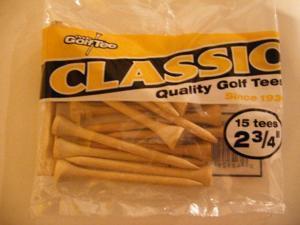 "Pride 2-3/4"" Classic Wood Golf Tees 15 ct Bag NEW"