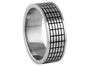 316L Stainless Steel Ring with Grid Design