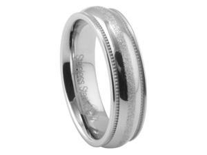 316L Stainless Steel Diamond Cut Milgrain Wedding Band