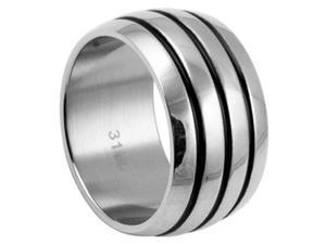 316L Stainless Steel Triple Stripes Dome Shape Ring