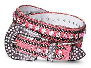 "Crystal Lined Studded Genuine Leather Belt-Color : Pink - Width: 1.2"" , Size : Small/Medium/Large (33.5""-38"",37""-43"").Overall ..."