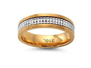 316L Stainless Steel Ring -Two-Tone ( Yellow Gold Plated and Stainless Steel) - Face Height : 6.25mm , Band Width: 6.25mm ...