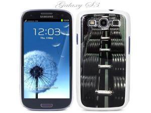 White Snap-on S3 Phone Cover Case for Samsung Galaxy SIII Phone - DUMBBELLS LOGO DESIGN. Height: 5.3 Inches X Width: 2.6 ...
