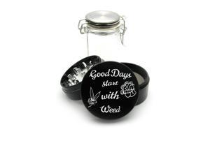 Laser Engraved Grinder Plus FREE Glass Jar included! 4 Piece Premium Black CNC Herb Grinder Good Day Start With Weed