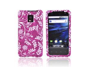 White Flower On Purple Rubberized Hard Plastic Case Cover For T-mobile G2x