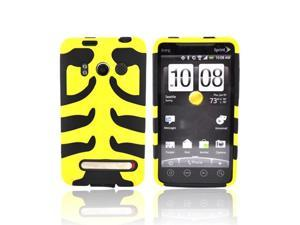 Yellow On Black Hard Rubberized Fish Bone On Silicone Case Cover For HTC Evo 4g