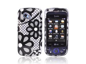 Black Flower Lace On Silver Hard Plastic Case Cover For LG Neon Ii Gw370