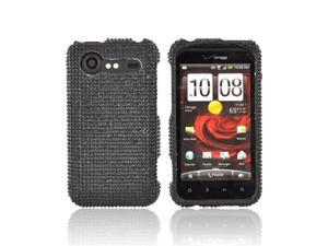 Black Gems Bling Hard Plastic Case Cover w Pry Tool For HTC Droid Incredible 2