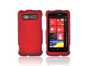 Red Rubberized Hard Plastic Case Cover For HTC Trophy