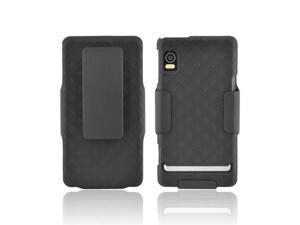 Black OEM Verizon Rubberized Hard Case w Holster, MOTDRDPHOC For Motorola Droid 2 A955