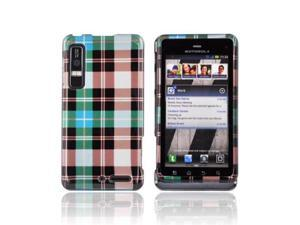 Plaid Pattern of Blue Brown Silver Hard Plastic Case For Motorola Droid 3