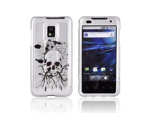 Black Skull on Silver Hard Plastic Case For T-Mobile G2X